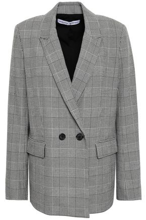 REBECCA MINKOFF Double-breasted Prince of Wales checked woven blazer