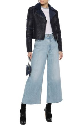 J Brand Woman Aiah Cropped Washed-Shearling Biker Jacket Midnight Blue