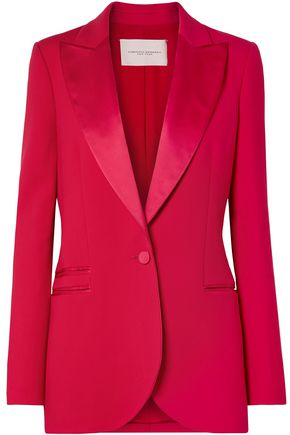 CAROLINA HERRERA Satin-trimmed wool-blend tuxedo blazer