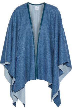 AGNONA Leather-trimmed cashmere wrap