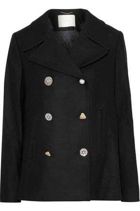 ADAM LIPPES Double-breasted embellished wool-blend twill coat