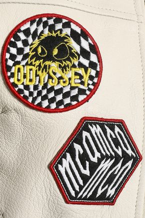 McQ Alexander McQueen Lace-up appliquéd textured-leather jacket