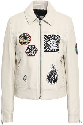 McQ Alexander McQueen Lace-up appliquéd textured-leather jacket