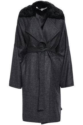 McQ Alexander McQueen Belted faux fur-trimmed printed wool coat