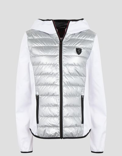 Scuderia Ferrari Online Store - Women's silver nylon and softshell real down jacket - Down Jackets