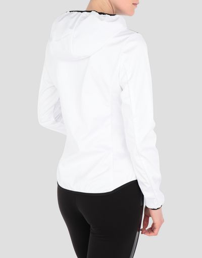 Women's jacket in silver nylon and Softshell with real down filling