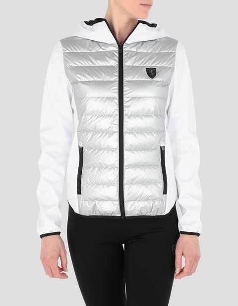 Women's silver nylon and softshell real down jacket