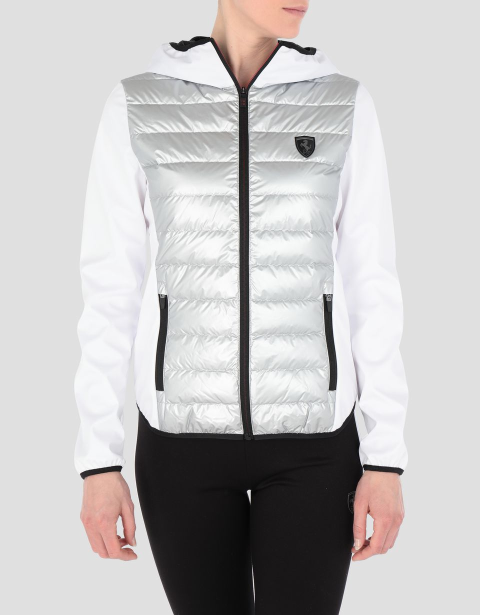 Scuderia Ferrari Online Store - Women's jacket in silver nylon and Softshell with real down filling - Down Jackets