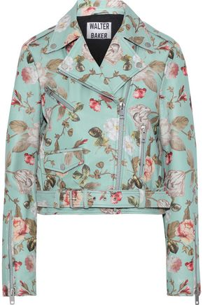 W118 by WALTER BAKER Tadd cropped floral-print leather biker jacket