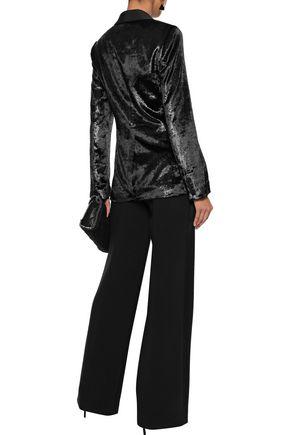 RACHEL ZOE Elaine double-breasted metallic velvet blazer
