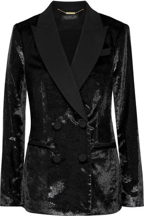 RACHEL ZOE Elaine double-breasted metallic velvet blazer