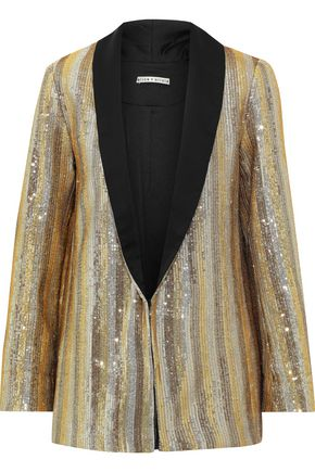 ALICE + OLIVIA Jace oversized striped sequined cotton blazer