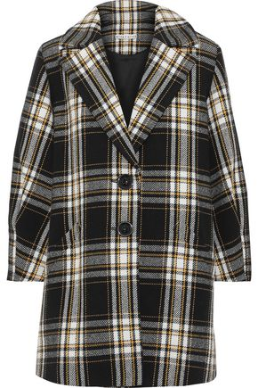 ALICE + OLIVIA Lance checked cotton-blend coat