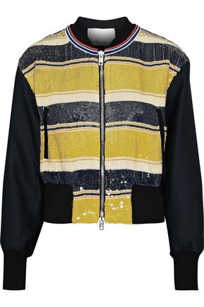 3.1 PHILLIP LIM Striped sequined gauze and duchesse-satin bomber jacket
