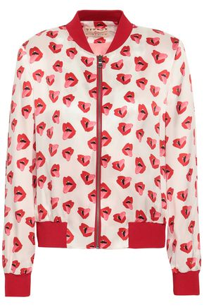 ALICE + OLIVIA Printed silk-satin bomber jacket