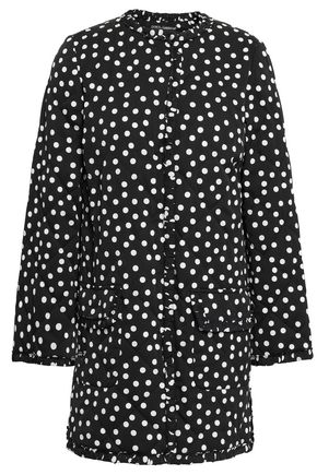 DOLCE & GABBANA Quilted polka-dot silk-blend jacket