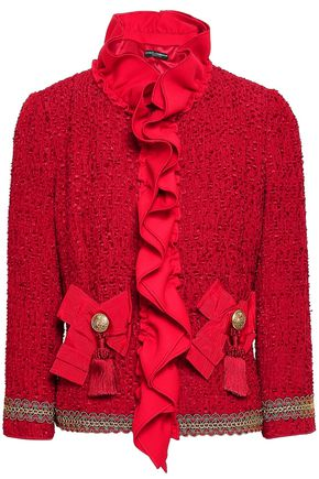 DOLCE & GABBANA Ruffled bow-embellished fil coupé jacket