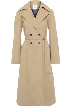 ROSIE ASSOULIN Cotton-blend gabardine and pleated checked tweed trench coat