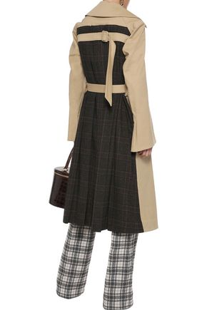 Rosie Assoulin Woman Cotton-Blend Gabardine And Pleated Checked Tweed Trench Coat Sand