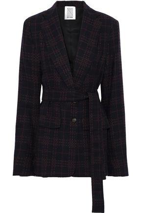ROSIE ASSOULIN Belted checked wool-blend tweed blazer