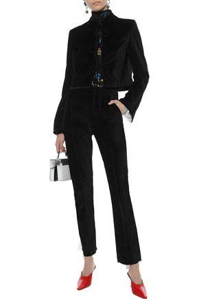 ROSIE ASSOULIN Tie-front plissé voile-trimmed cotton-velvet jacket