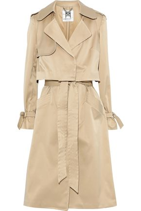 MILLY Convertible layered sateen trench coat