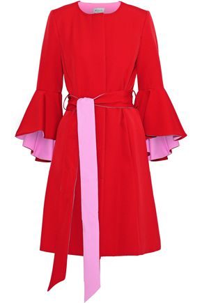 MILLY Belted fluted cady coat