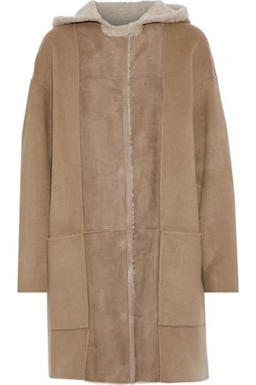 YVES SALOMON Shearling-paneled wool and cashmere-blend hooded coat