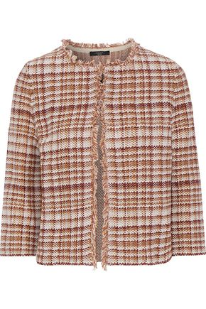 WEEKEND MAX MARA Tilly fringe-trimmed cotton and linen-blend tweed jacket