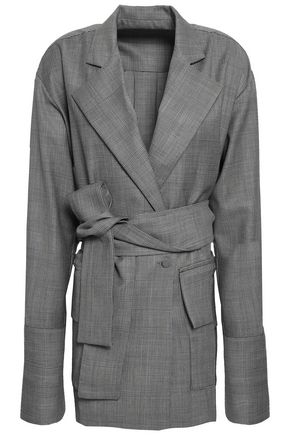 MICHAEL LO SORDO Belted Prince of Wales checked wool blazer