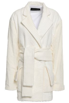 MICHAEL LO SORDO Belted ribbed cotton-fleece blazer