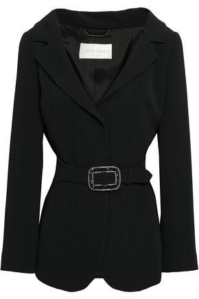 ALBERTA FERRETTI Crystal-embellished belted crepe blazer