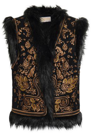 MICHAEL MICHAEL KORS Faux fur-trimmed embellished wool-blend felt vest