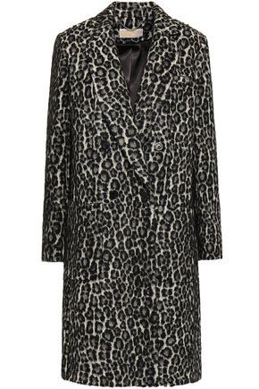 MICHAEL MICHAEL KORS Double-breasted brushed leopard-print felt coat
