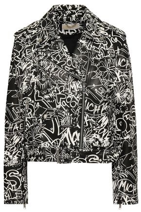 MICHAEL MICHAEL KORS Belted printed leather biker jacket