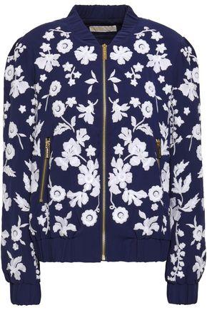 MICHAEL MICHAEL KORS Embellished embroidered crepe bomber jacket