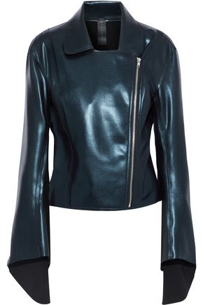 NORMA KAMALI Gang metallic faux leather biker jacket