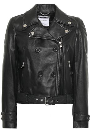 MOSCHINO Textured-leather biker jacket