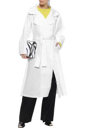 NORMA KAMALI Belted cotton-poplin coat