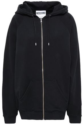 MOSCHINO Embroidered cotton hooded jacket