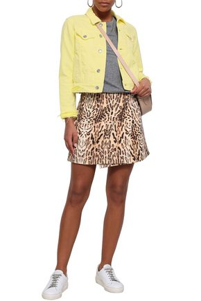 Current Elliott Current/Elliott Woman Distressed Denim Jacket Pastel Yellow