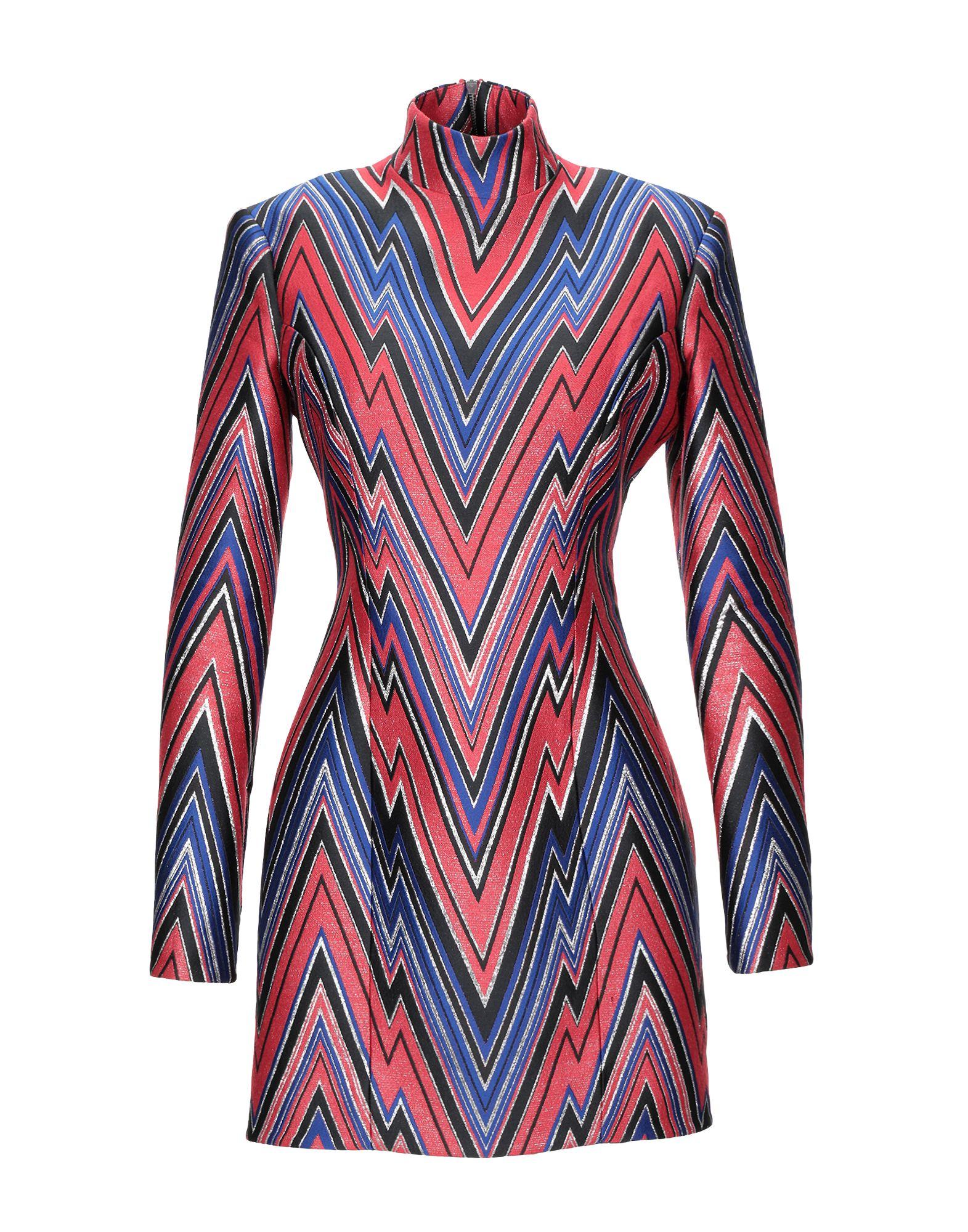 BALMAIN Short dresses. plain weave, lamé, no appliqués, optical pattern, turtleneck, long sleeves, no pockets, zipped cuffs, fully lined, rear closure. 81% Polyester, 7% Silk, 6% Metallic Polyester, 6% Polyamide, Viscose