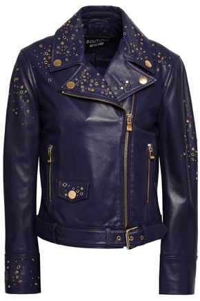BOUTIQUE MOSCHINO Embellished leather biker jacket