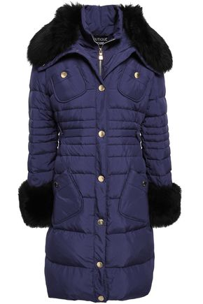 BOUTIQUE MOSCHINO Shearling-trimmed quilted shell down coat