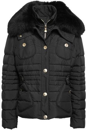 BOUTIQUE MOSCHINO Shearling-trimmed quilted shell down jacket