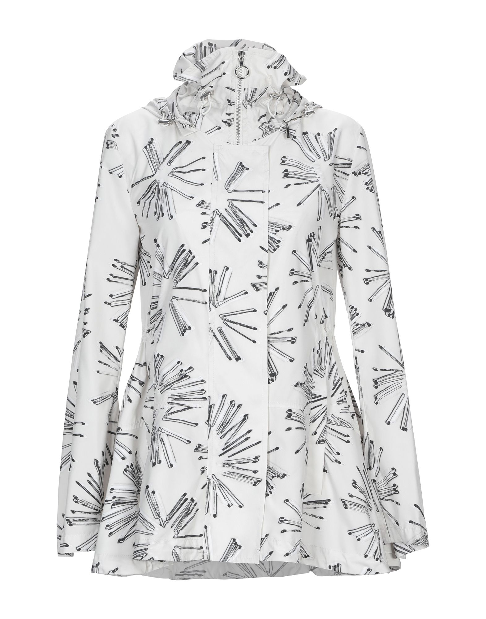 AKRIS PUNTO Jackets. techno fabric, no appliqués, multicolor pattern, single-breasted, snap-buttons, zip, hooded collar, multipockets, long sleeves, unlined. 100% Polyester