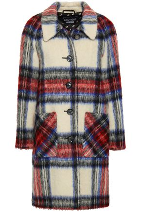 BOUTIQUE MOSCHINO Chain-embellished checked brushed-felt coat