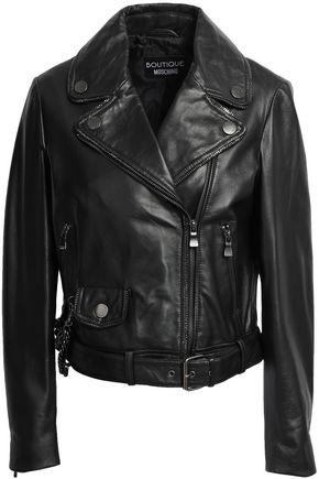 BOUTIQUE MOSCHINO Leather biker jacket