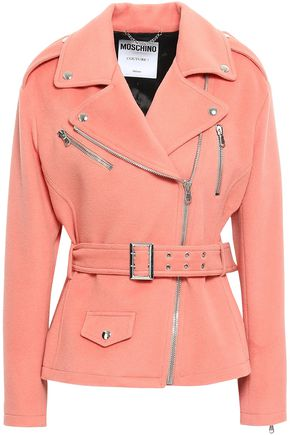 MOSCHINO Belted wool and cashmere-blend biker jacket
