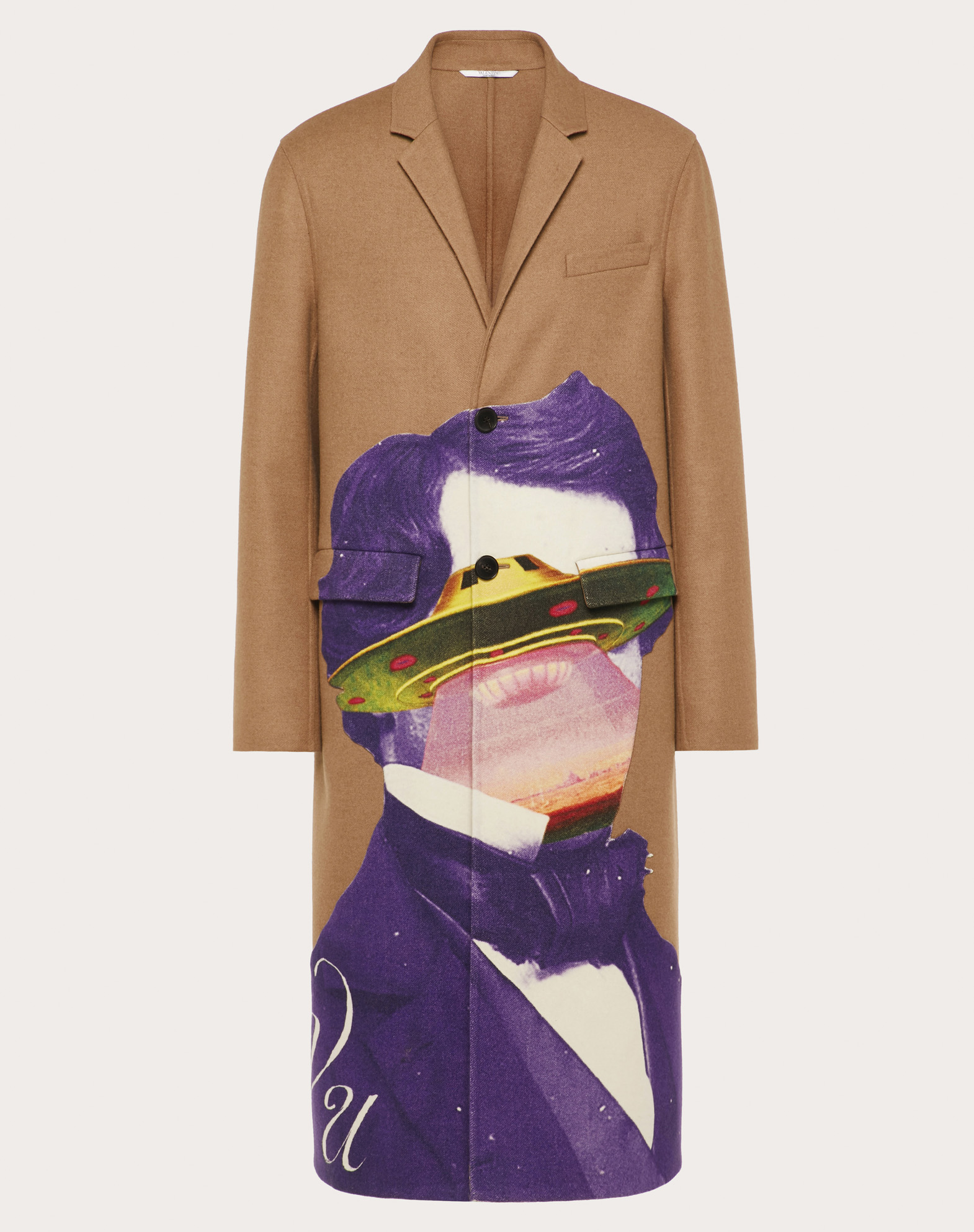 DOUBLE-LAYER COAT WITH V FACE UFO INTARSIA